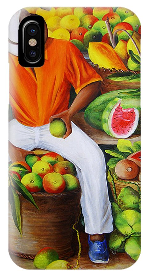 Caribbean IPhone X Case featuring the painting Manuel The Caribbean Fruit Vendor by Dominica Alcantara