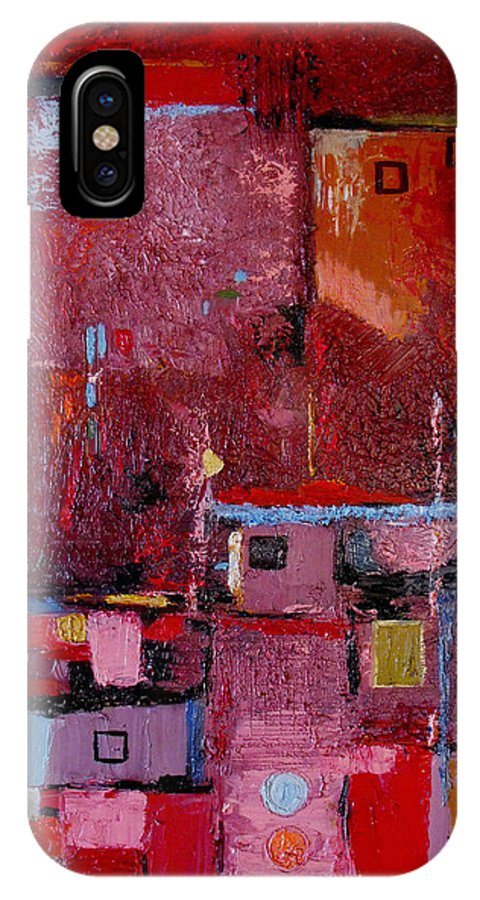 Abstract IPhone X Case featuring the painting Many Mansions by Ruth Palmer