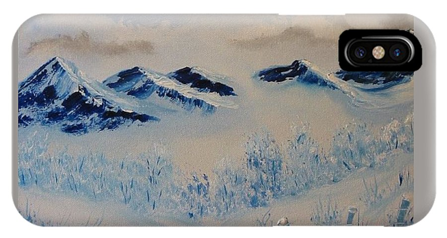 Blue IPhone X Case featuring the painting Many Valleys by Laurie Kidd