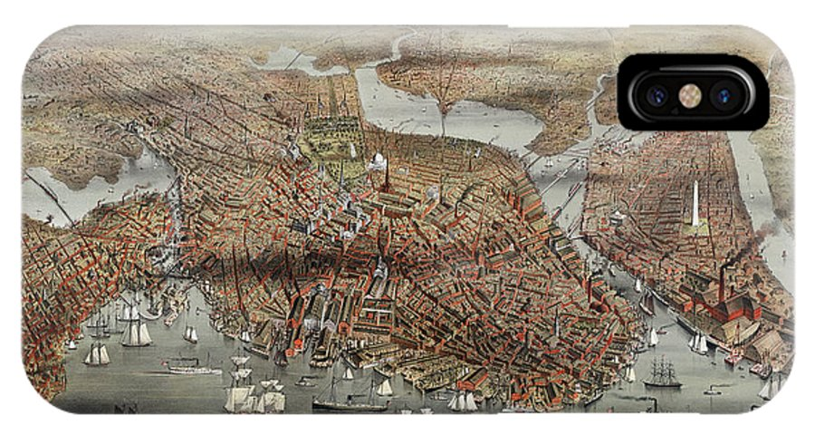 1873 IPhone X / XS Case featuring the photograph Map: Boston, C1873 by Granger