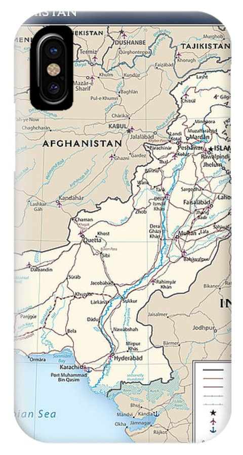 Atlas IPhone X / XS Case featuring the mixed media Map Of Pakistan by Roy Pedersen