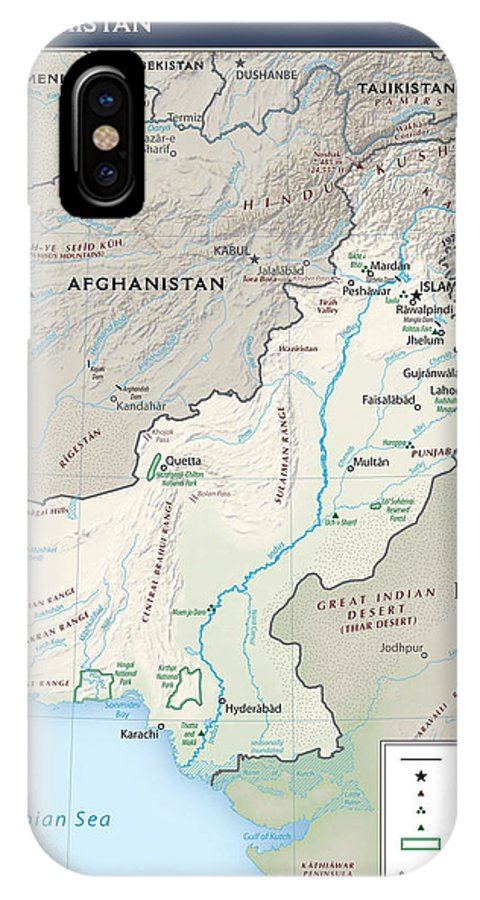 Atlas IPhone X / XS Case featuring the mixed media Map Of Pakistan2 by Roy Pedersen