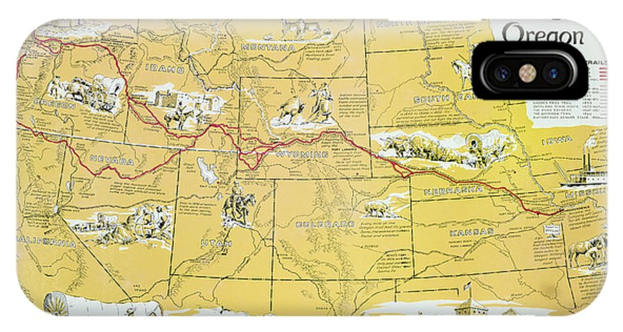 Map Of America Oregon.Map Of The Old Oregon Trail Iphone X Case