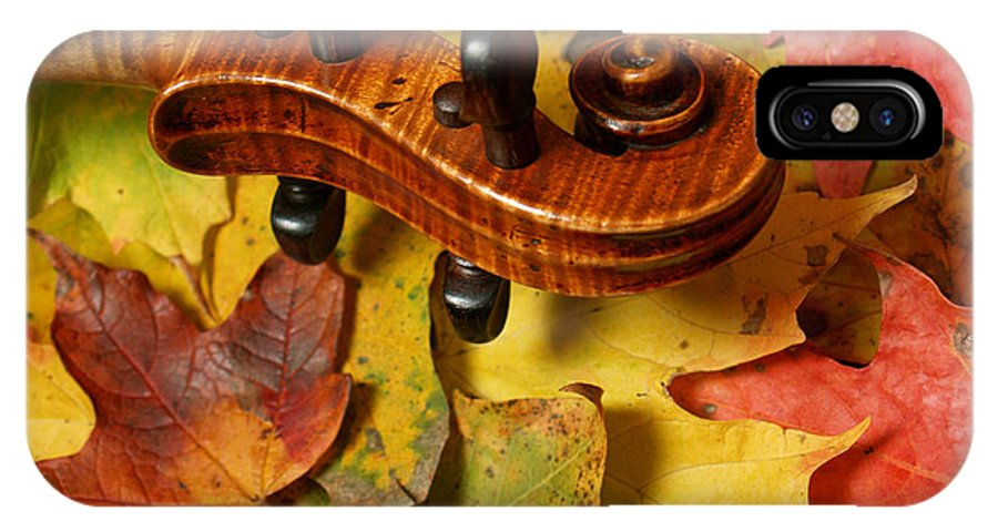 Violin IPhone X Case featuring the photograph Maple Violin Scroll On Fall Maple Leaves by Anna Lisa Yoder