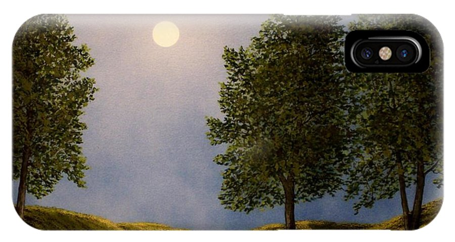 Mountains IPhone X Case featuring the painting Maples In Moonlight by Frank Wilson