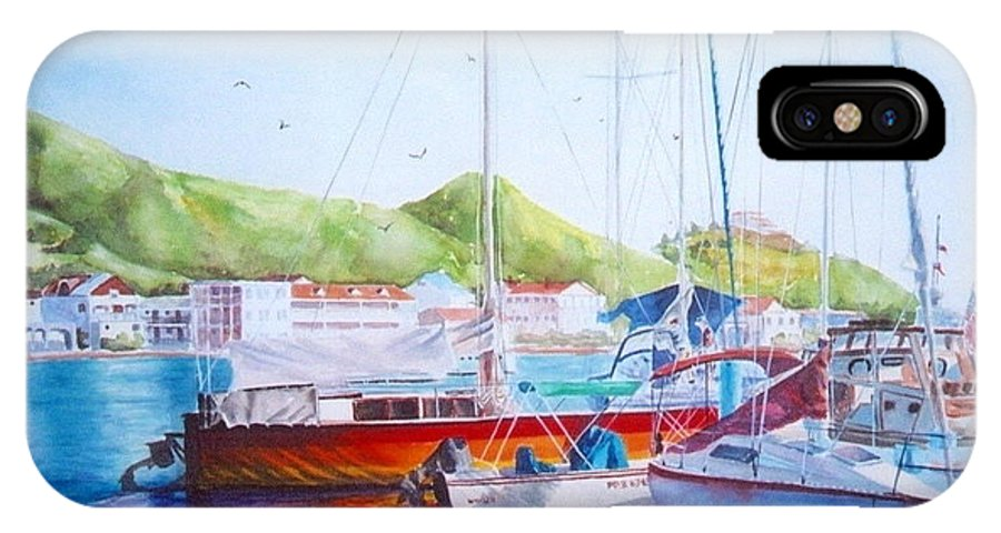 Watercolor Painting IPhone X / XS Case featuring the painting Maragot Harbor by Laura Lee Zanghetti