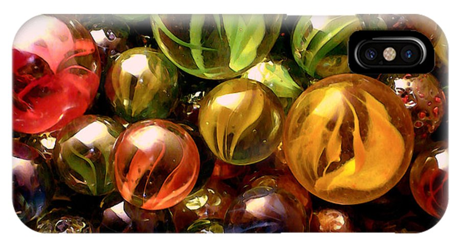 Marbles Abstract IPhone X Case featuring the digital art Marble Madness by P Donovan