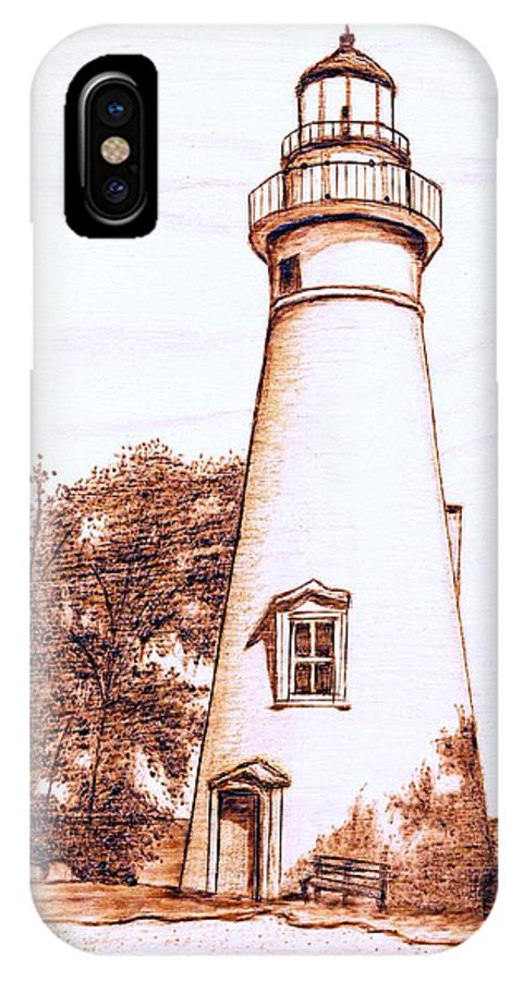 Lighthouse IPhone X / XS Case featuring the pyrography Marblehead Lighthouse by Danette Smith