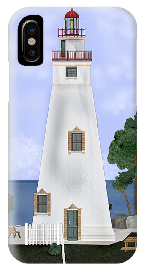 Marblehead Ohio Lighthouse IPhone X Case featuring the painting Marblehead Ohio by Anne Norskog