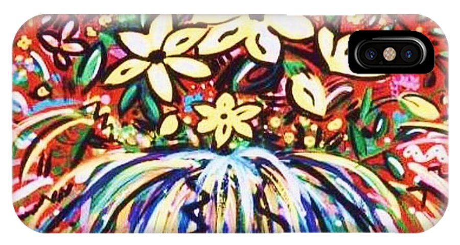 Floral IPhone X Case featuring the painting Mardi Gras Floral Explosion by Sidra Myers