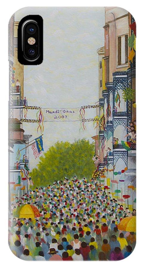 Mardi Gras IPhone X Case featuring the painting Mardi Gras On Bourbon Street by Douglas Ann Slusher