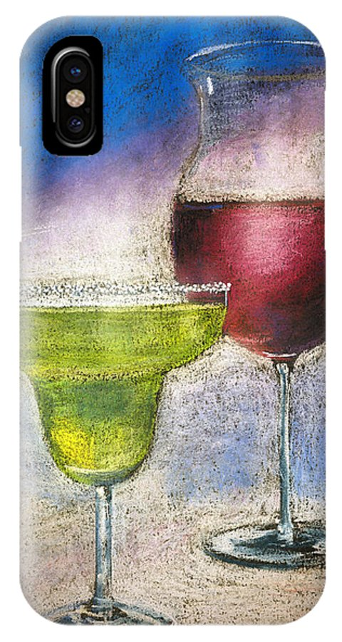 Margarita IPhone X Case featuring the pastel Margarita And A Glass Of Wine by Arline Wagner
