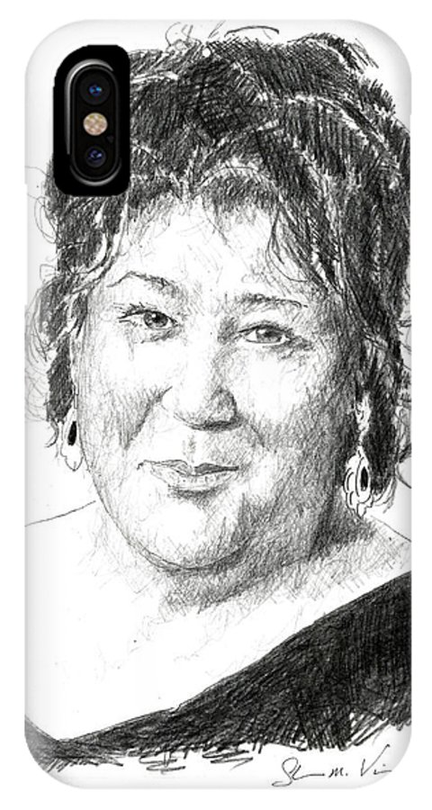 Margo Martindale IPhone X Case featuring the drawing Margo Martindale by Shawn Vincelette