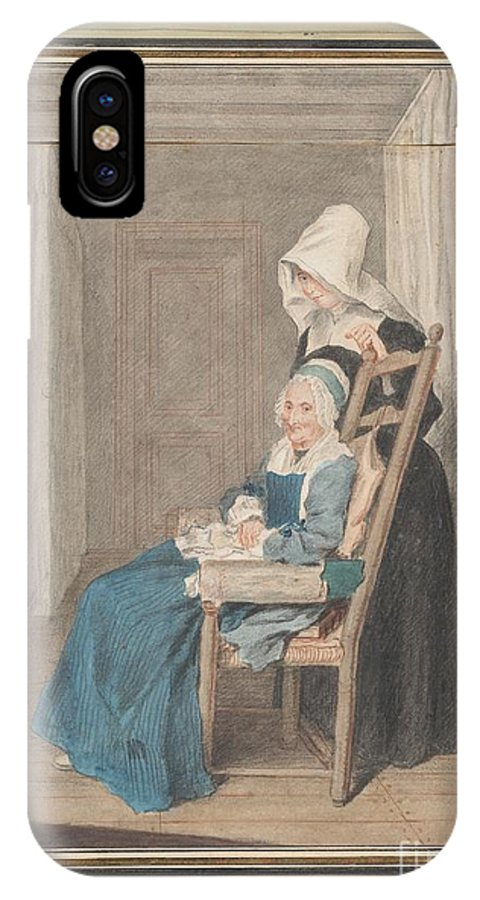 IPhone X Case featuring the drawing Marie Louise Petit At The Age Of 105, With Her Young Nurse by Louis Carrogis, Called Carmontelle