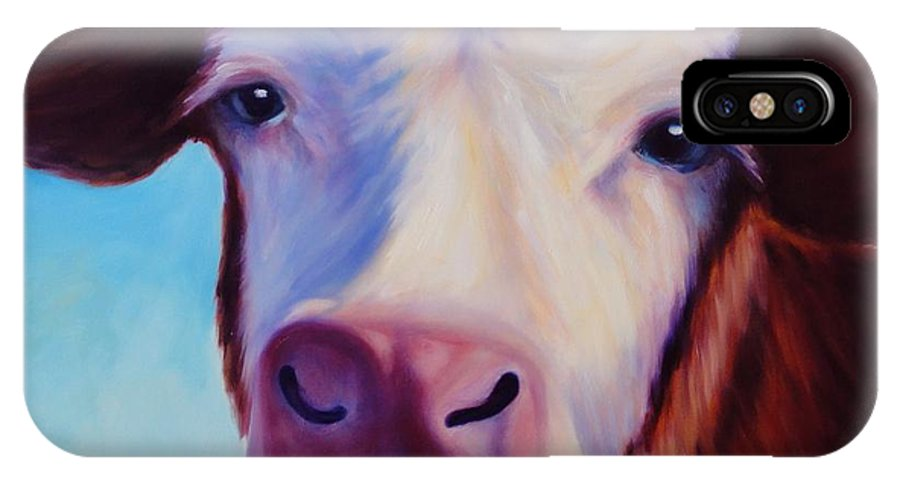 Cow IPhone X Case featuring the painting Marie by Shannon Grissom