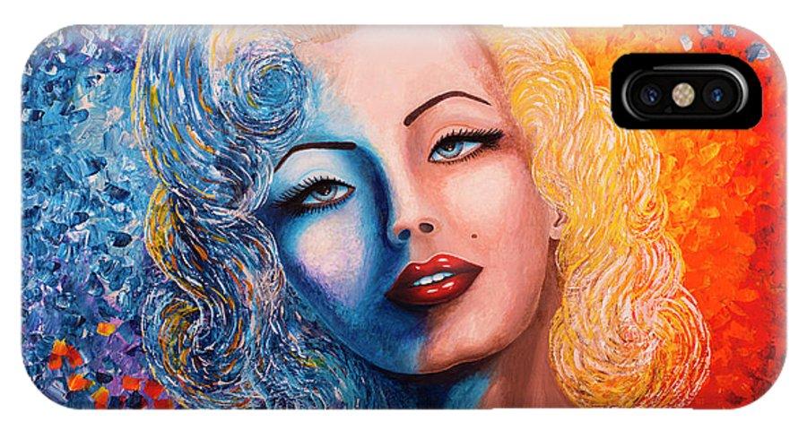 Marilyn Monroe IPhone X Case featuring the painting Marilyn Monroe Original Acrylic Palette Knife Painting by Georgeta Blanaru