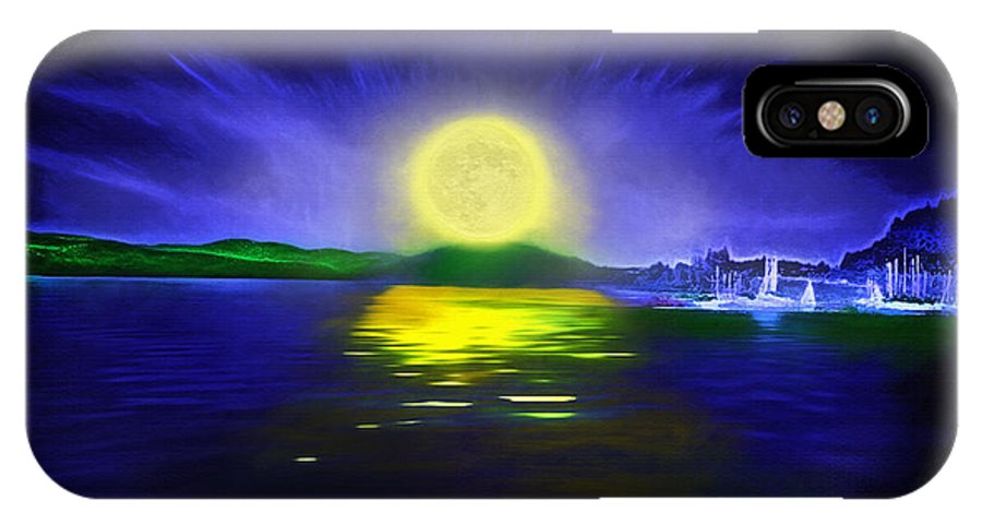 Couer D' Alene; Idaho; Lakes; Water; Night; Nighttime; Moonlight; Moonlit; Full Moon IPhone X Case featuring the photograph Marina Moonrise by Steve Ohlsen