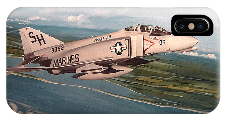 Aviation IPhone X Case featuring the painting Marine Phantom by Marc Stewart