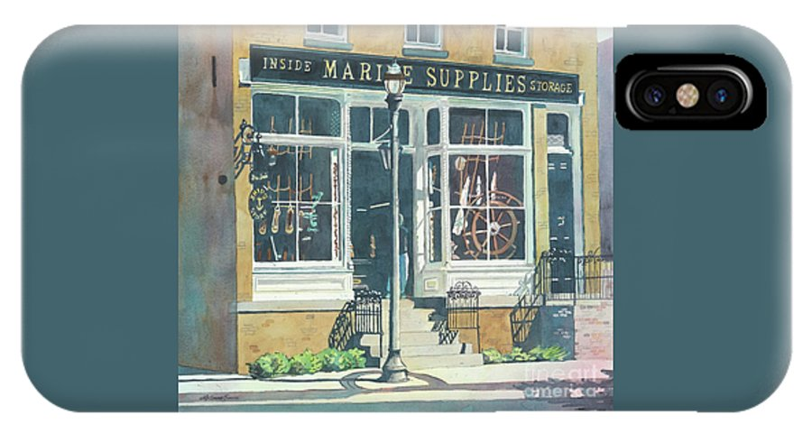 Storefronts IPhone Case featuring the painting Marine Supply Store by LeAnne Sowa