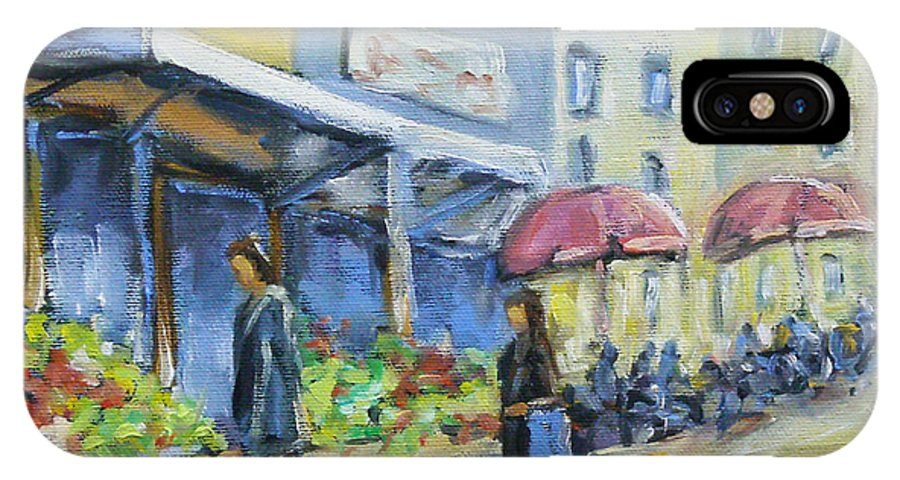 Balcony IPhone X Case featuring the painting Market Day by Richard T Pranke