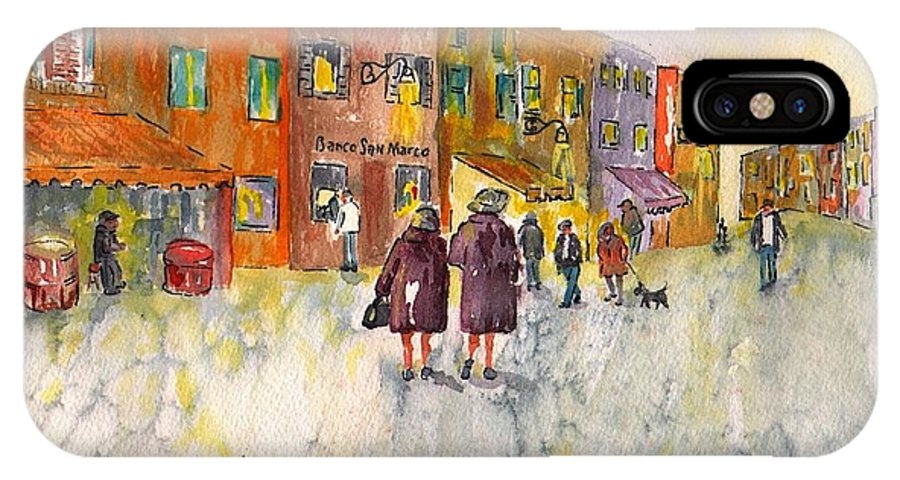 Sharon Mick IPhone X Case featuring the painting Market Place In Borano by Sharon Mick