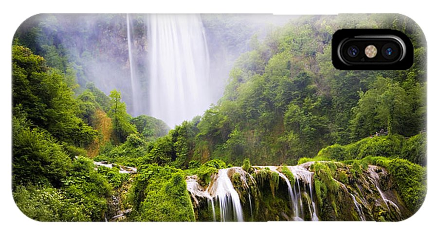 Italy IPhone X Case featuring the photograph Marmore Waterfalls Italy by Marilyn Hunt