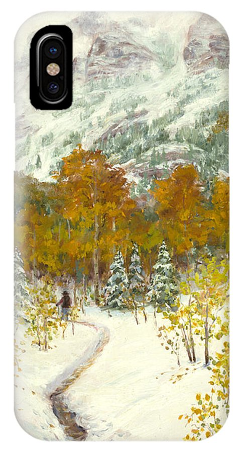 Autumn Aspens IPhone X Case featuring the painting Maroon Bells-snowmass Wilderness Trek by Mary Giacomini