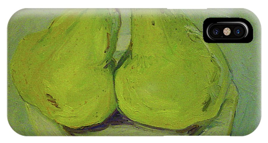 Two Yellow Pears IPhone X Case featuring the painting Marriage Of The Pears by Pat Gray