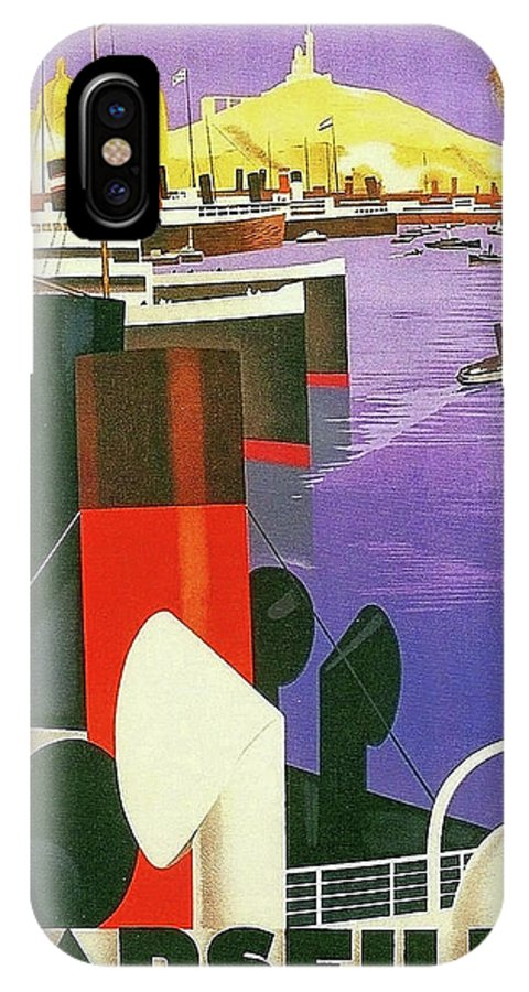 Marseilles IPhone X Case featuring the painting Marseille, City Harbor, France by Long Shot