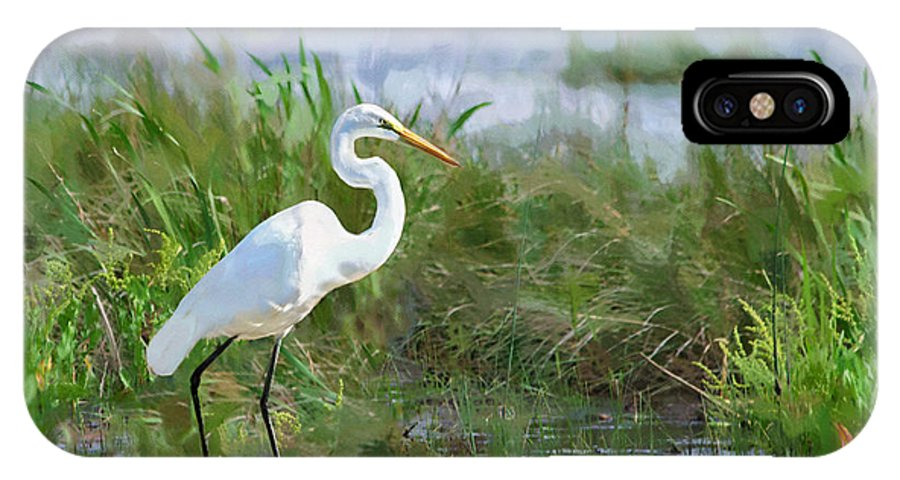 Great Egret IPhone X Case featuring the photograph Marsh Egret by Betty LaRue