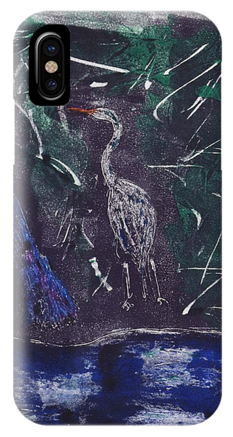 Monotype IPhone X Case featuring the mixed media Marsh Magic by Cori Solomon