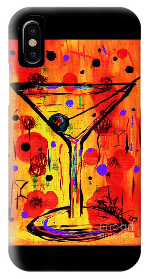 Martini IPhone X Case featuring the painting Martini Twentyfive Of Sidzart Pop Art Collection by Sidra Myers