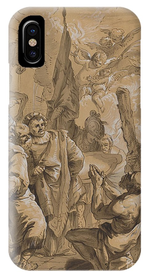 IPhone X Case featuring the drawing Martyrdom Of Saint Andrew by Follower Of Francesco Fontebasso