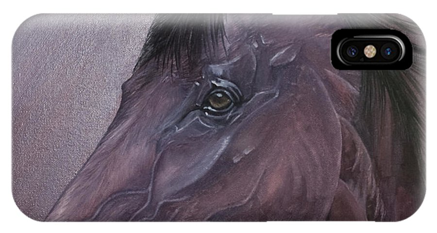 Horse Marwari Equine Purple IPhone X Case featuring the painting Marwari Purple by Pauline Sharp