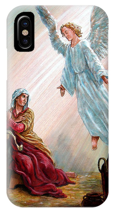 Angel IPhone X Case featuring the painting Mary And Angel by John Lautermilch