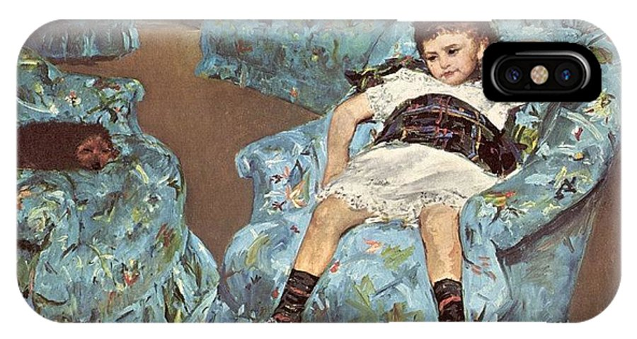 Pajama IPhone X Case featuring the digital art Mary Cassatt-little Girl In A Blue Armchair1878 Po Amp 059 Mary Cassatt by Eloisa Mannion