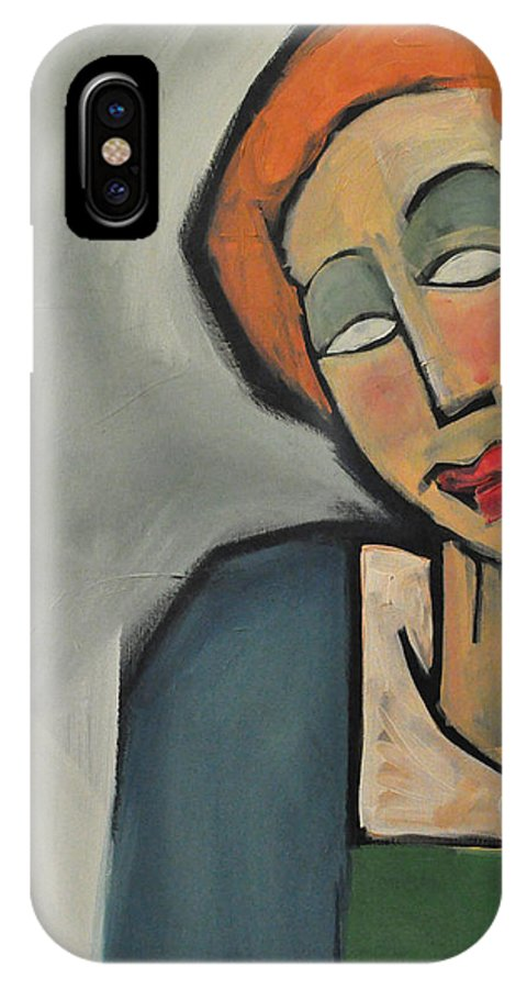 Woman IPhone X / XS Case featuring the painting Mary Muses by Tim Nyberg