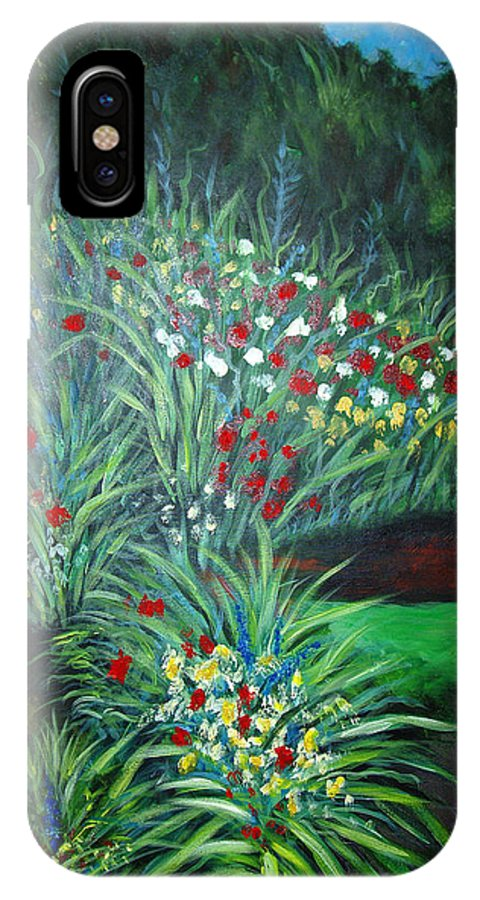 Landscape IPhone X Case featuring the painting Maryann's Garden 3 by Nancy Mueller