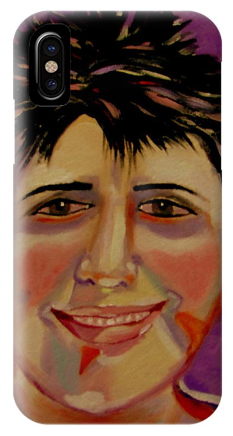 Faces IPhone X Case featuring the painting Maryline by Rusty Gladdish