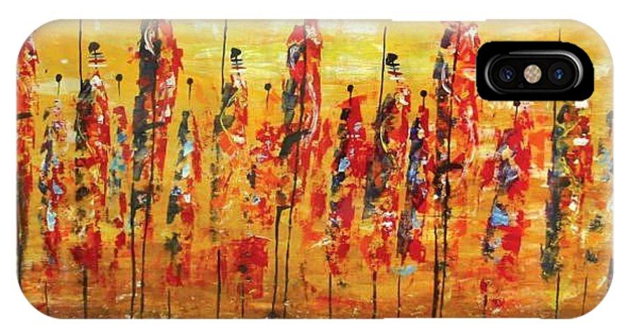 Masai IPhone X Case featuring the painting Masai Dance by William Mutua