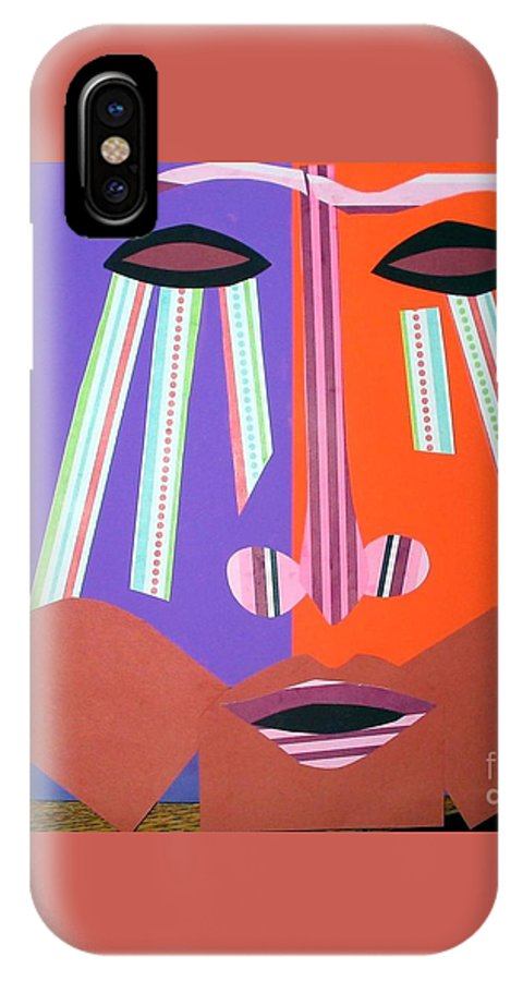 Mask IPhone X Case featuring the mixed media Mask With Streaming Eyes by Debra Bretton Robinson