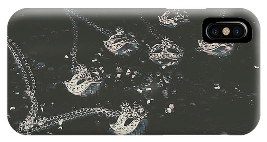 Party IPhone X Case featuring the photograph Masks From The Dark Carnival by Jorgo Photography - Wall Art Gallery