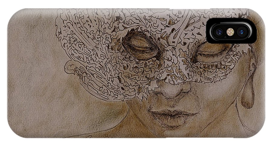Mask IPhone X Case featuring the drawing Masquerade by Portraits By NC
