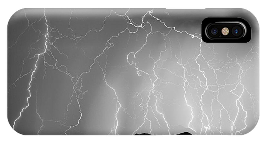 Lightning IPhone X Case featuring the photograph Massive Monsoon Lightning Storm Bw by James BO Insogna
