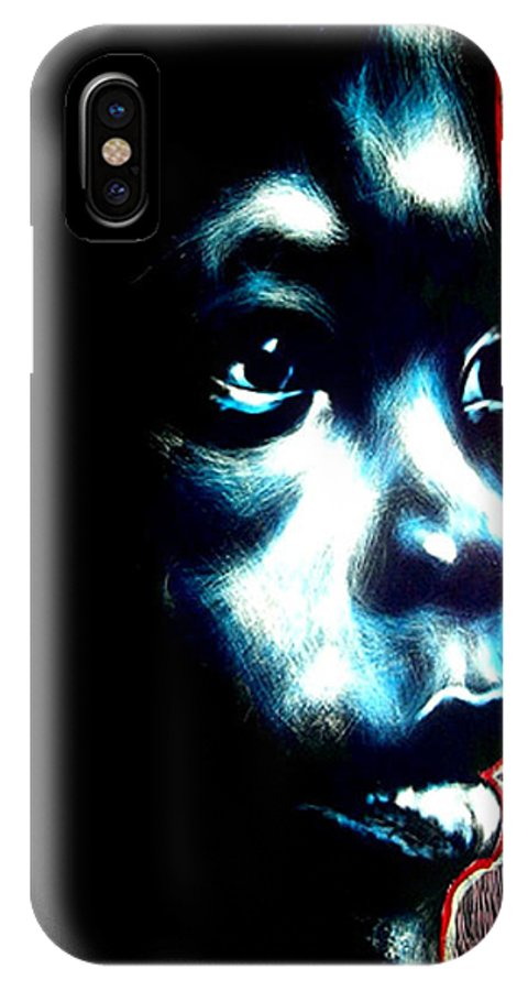 IPhone X Case featuring the mixed media Master Blue by Chester Elmore
