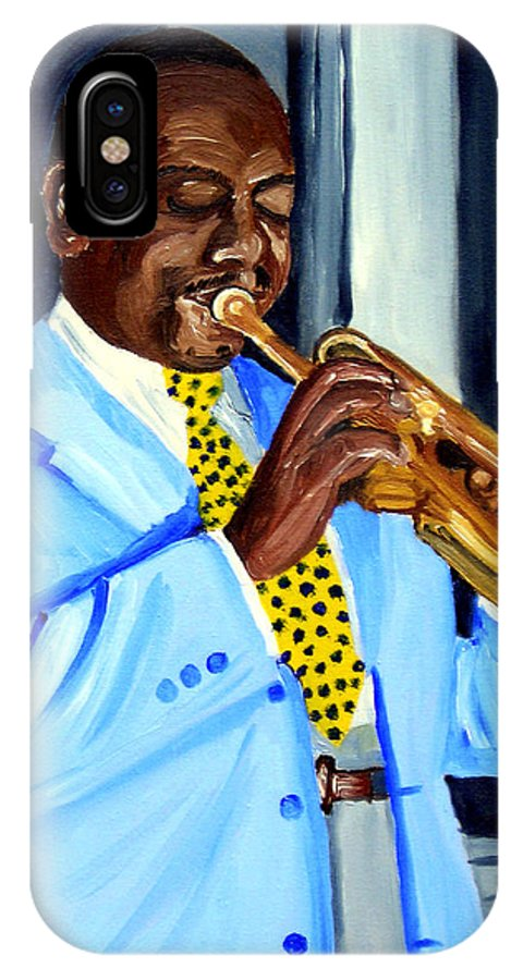 Street Musician IPhone X Case featuring the painting Master Of Jazz by Michael Lee
