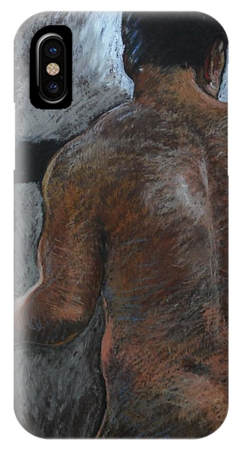 Male IPhone X Case featuring the drawing Mathew's Back. by Harry Robertson