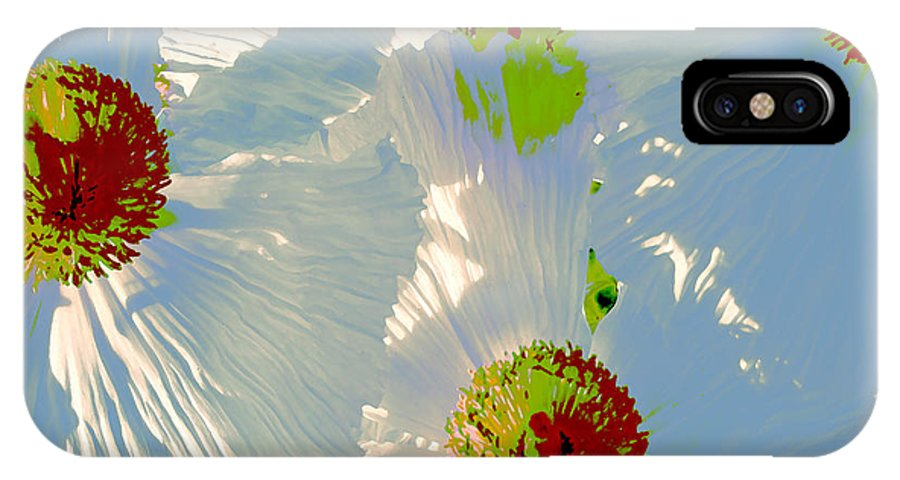 Floral Abstract IPhone X Case featuring the photograph Matilija Poppies Pop Art by Ben and Raisa Gertsberg