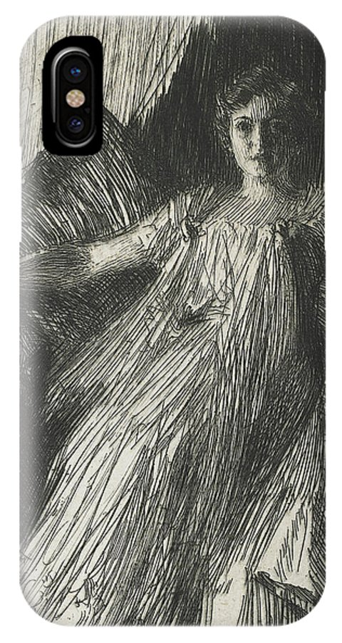 Maud Cassel IPhone X Case featuring the drawing Maud Cassel by Anders Leonard Zorn