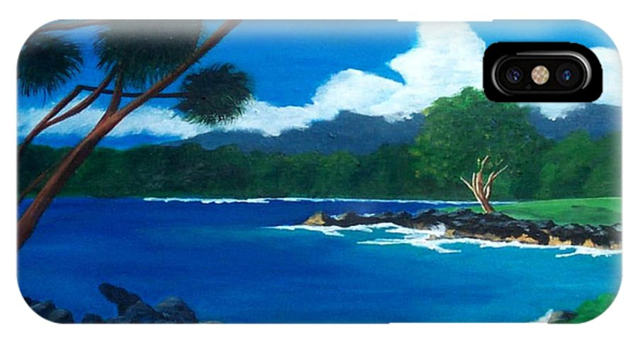 Inlet IPhone X Case featuring the painting Maui Inlet by Nancy Nuce